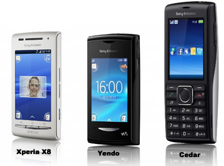 Sony Ericsson Xperia X8, Greenheart Cedar and Yendo