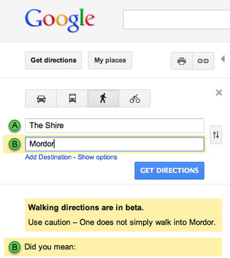 google maps lord of the rings easter egg