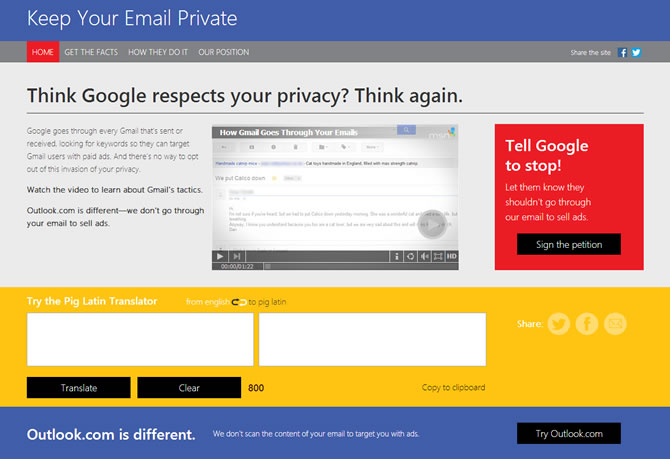 Microsoft tries to lure Gmail users by accusing Google of ...