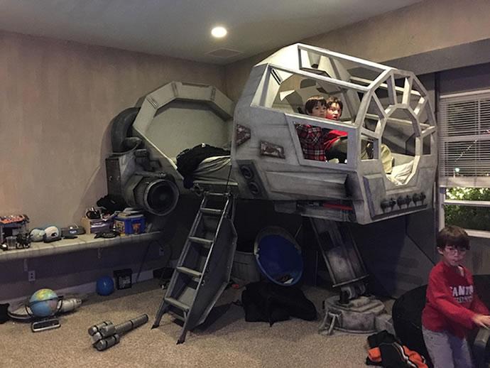 Designer Creates Millennium Falcon Cockpit Bed For His Son